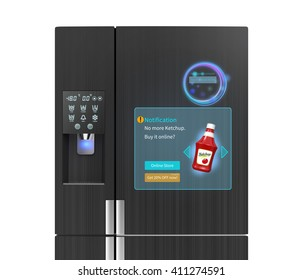 """Smart refrigerator concept. The screen on the door displaying push information, for example """"no ketchup"""", user can buy online just touch button on the door. 3D rendering image."""