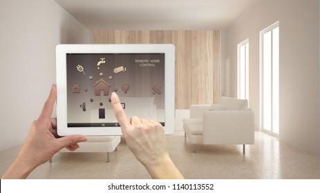 Smart remote home control system on a digital tablet. Device with app icons. Minimalist modern bright living room in the background, architecture interior design, 3d illustration