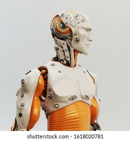 Smart robot man with an open mechanical structure, 3d rendering