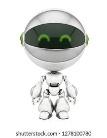 Smart robot with round head, 3d rendering
