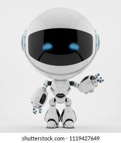 Smart robot with round head gesturing, 3d rendering