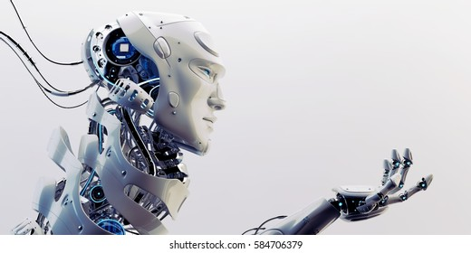 Smart robot with unique neck structure and stretched arm in side,  3d rendering