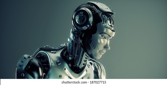 Smart robot woman 3d render
