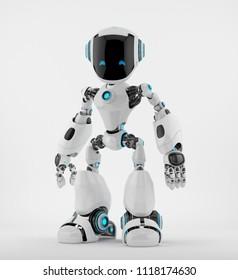 Smart robotic character, 3d rendering