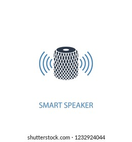 smart speaker concept 2 colored icon. Simple blue element illustration. smart speaker concept symbol design from smart home set. Can be used for web and mobile UI/UX