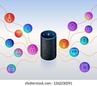 Smart speaker for smart home control. Icons on colorful gradient. Voice control gadget of your house. Intelligent voice activated assistant. Isolated object.