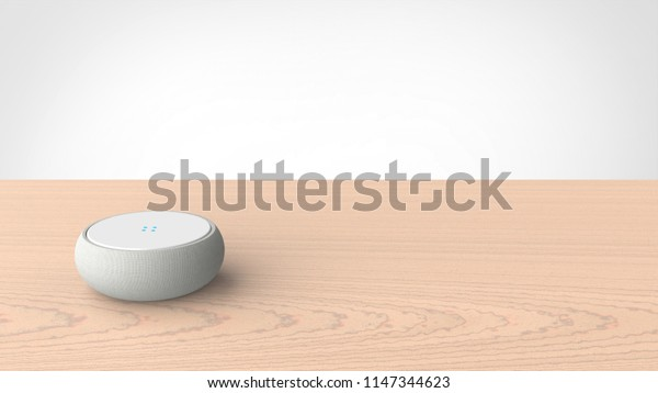 smart speaker on the table 3d rendering