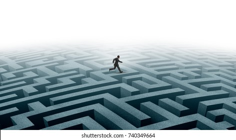 Smart strategy and efficient creative determination concept as a clever businessman moving forward on a complicated maze as an aspiration and innovative thinking symbol with 3D render elements.