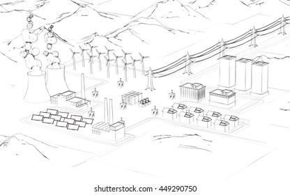 Smart systems, 3D illustration, sketch.