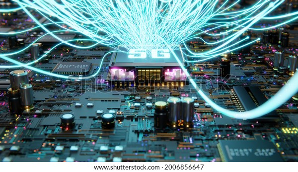 Smart technology circuit board with 5G and aesthetic Intricate wave line design , big data connection technology concept. 3d rendering