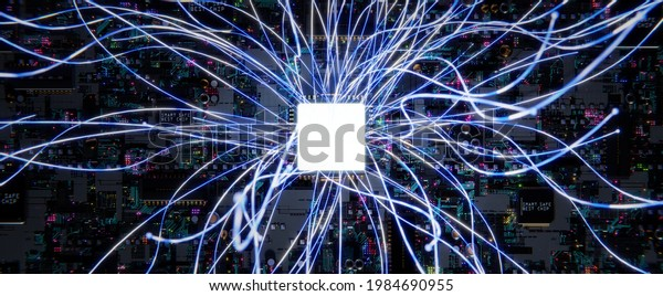 Smart technology circuit board with aesthetic Intricate wave line design , big data connection technology concept. 3d rendering