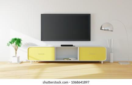 Smart TV In Living Room. 3D Rendering