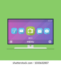 Smart TV. Menu with icons and smart TV settings. Flat illustration isolated on green background.