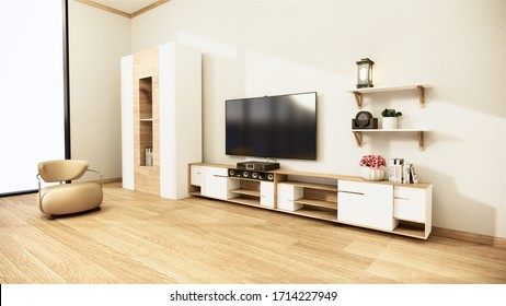 Smart Tv Mockup with blank black screen hanging on the cabinet decor, modern living room japanese style. 3d rendering