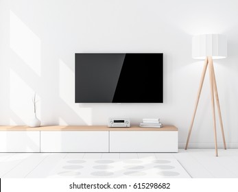 Smart Tv Mockup with blank black screen hanging on the wall, modern living room with floor lamp. 3d rendering