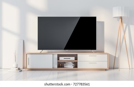 Smart Tv Mockup with blank screen standing in modern living room on wooden console, 3d rendering