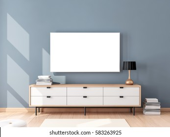 Smart Tv Mockup hanging on the wall, living room with bureau. 3d rendering