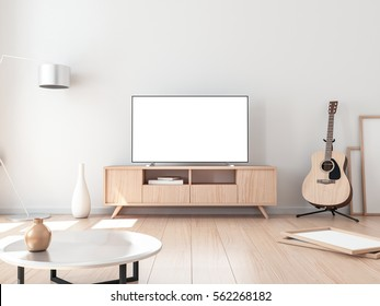 Smart Tv Mockup, living room with acoustic guitar. 3d rendering