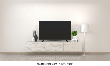 Smart Tv Mockup on zen living room with decoraion minimal style. 3d rendering
