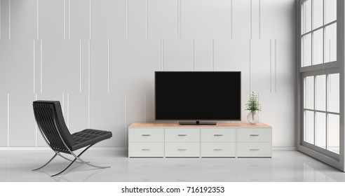 Smart tv on tv stand  in white living room decorated with wood white tv stand, tree in glass vase, black arm chair, white cement wall it is grid pattern, white  floor and light window. 3d rendering.
