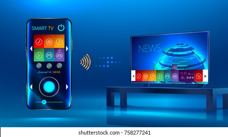 Smart TV is on the table. Smart TV interface. A smartphone is a remote for a smart TV. Interface for Smartphone app.
