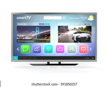smart tv screen front view isolated white background with clipping path