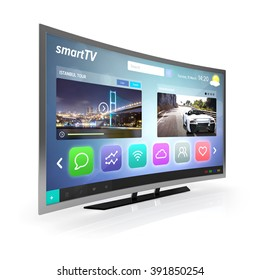 smart tv screen side view isolated white background with clipping path