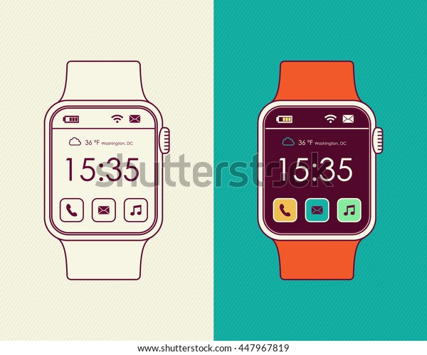 Smart watch designs in line art outline style with colorful social app icons and time display on screen.