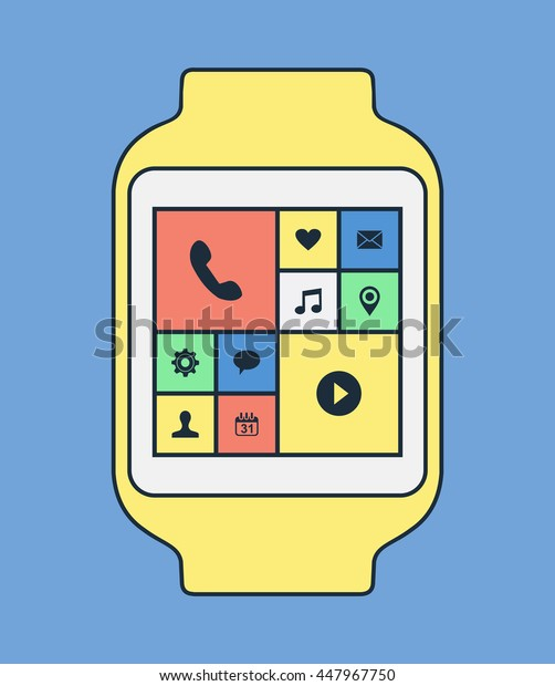 Smart watch illustration in modern line art style with colorful social app icons and isolated background.