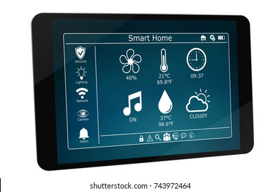 Smarthome remote device isolated on white background 3D rendering