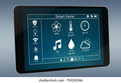 Smarthome remote device isolated on grey background 3D rendering