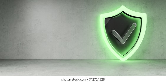 Smarthome shield security interface in modern interior 3D rendering