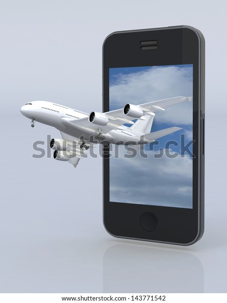 smartphone and airplane, 3d illustration