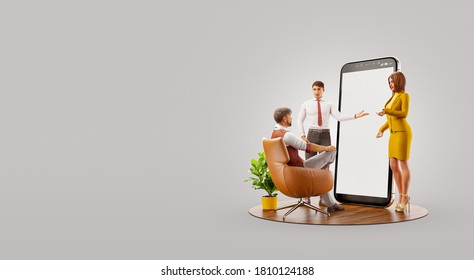 Smartphone app ui design development and presentation. Application and social media concept. Web development and web design. Unusual 3d illustration