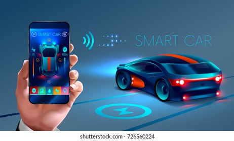 smartphone application to control the smart car by internet. Security system smart car. the smart car sends information about its status to the smart phone .