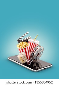 Smartphone application for online buying and booking cinema tickets. Live watching movies and video. Unusual 3D illustration of popcorn, cinema reel, clapper board and tickets on smarthone in hand