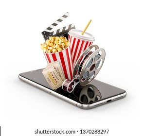 Smartphone application for online buying and booking cinema tickets. Live watching movies and video. Unusual 3D illustration of popcorn, cinema reel, clapper board and ticets on smarthone in hand.