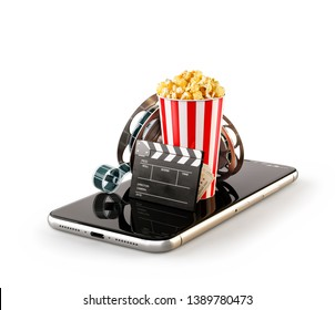 Smartphone application for online buying and booking cinema tickets. Live watching movies and video. Isolated unusual 3D illustration of popcorn, cinema reel, clapper board and tickets on smarthone