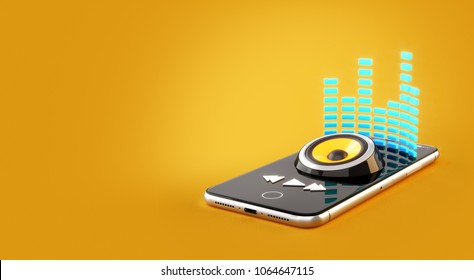 Smartphone application for online buying, downloading and listening to music. Unusual 3D illustration of music player app on a smartphone screen
