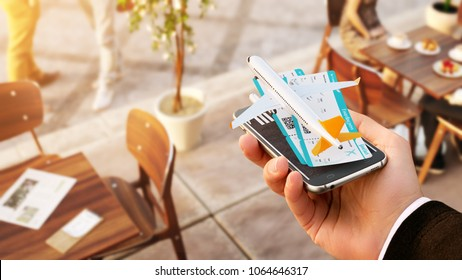 Smartphone application for online searching, buying and booking flights on the internet. Unusual 3D illustration of commercial airplane and boarding passes on smart phone in hand
