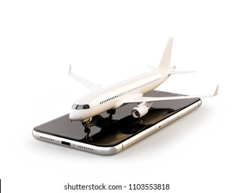 Smartphone application for online searching, buying and booking flights on the internet. Isolated unusual 3D illustration of commercial airplane on smartphone