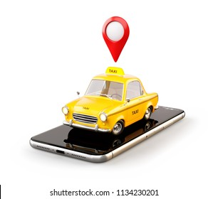 Smartphone application of taxi service for online searching calling and booking a cab. Isolated unusual 3D illustration of taxi cab on smart phone. Taxi concept