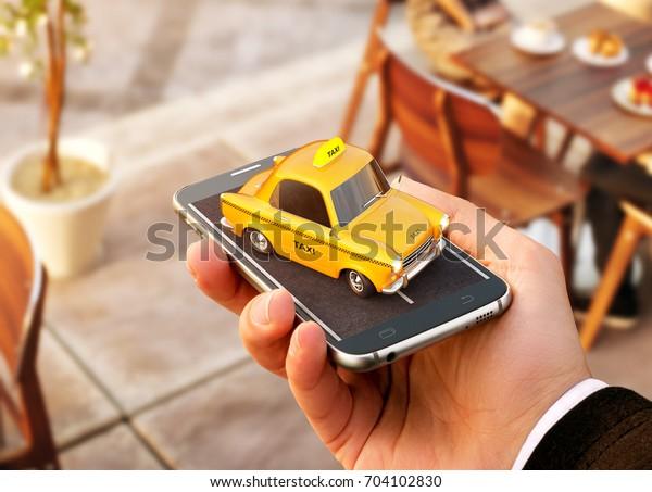 Smartphone-Anwendung des Taxi-Service für die Online-Suche und Buchung eines Taxi. Ungewöhnliche 3D-Illustration von Taxi-Kabine auf Smartphone in der Hand. Taxi-Konzept