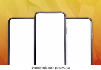 Smartphone application UI, presentation mockup. A template to promote your mobile app (3d render)