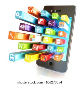 Smartphone apps,touchscreen smartphone with application software icons extruding from the screen, isolated in white