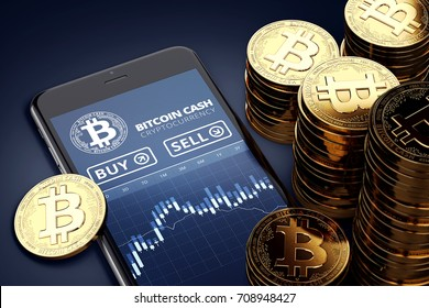 Smartphone with Bitcoin Cash trading chart on-screen among piles of golden Bitcoin Cash coins. BCC/BCH trading concept. 3D rendering