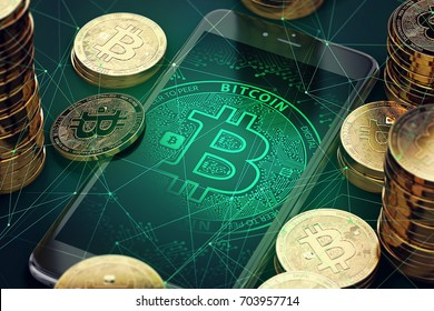 Smartphone with Bitcoin symbol on-screen among piles of golden Bitcoins. Blockchain transfers concept. 3D rendering