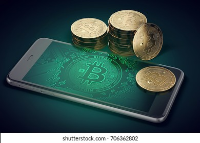 Smartphone with Bitcoin symbol on-screen and stack of golden Bitcoins. 3D rendering
