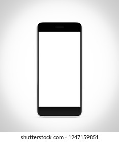 Smartphone with blank screen isolated on white background, 3d rendering