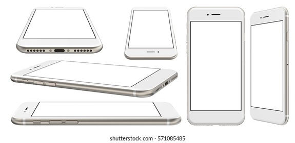 Smartphone with blank screen and isolated on the white background, high resolution, detailed image. 3d illustration.